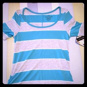 Blue and gray stripped shirt